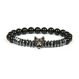 Wolf men rings online shopping - New Men Silver Bracelet Bangles Stainless Steel Wolf Bracelets With mm Stone Beads Beaded Jewelry For Gift