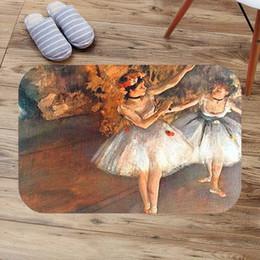 dance mat dancing 2019 - Edgar Degas Ballet Dance Painting Doormat Custom Floor Mat Rug Indoor Outdoor Bathroom Mats Soft Anti-Slip Carpet cheap