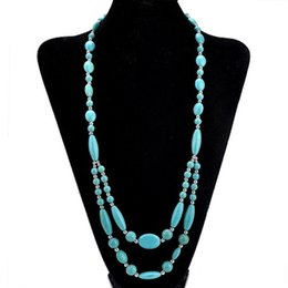 a4b9d2ef0ff1 Fashion Unique White Blue Turquoise Necklace Women Handmade Stone Beaded  Chain Necklaces Long Statement Choker Jeweley Gifts