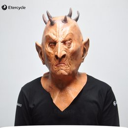 Discount cosplay six - Scary Devil Masks Six Horned Monster Cosplay Props Latex Party Mask for Halloween
