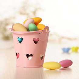tin gift boxes packaging UK - Mini Bucket for Wedding Candy Laser Cut Hollow Heart Shape Candy Tin Box Party Favors Gift Package