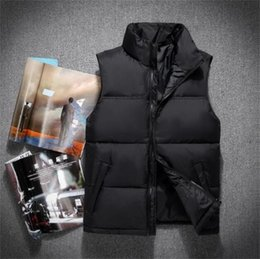 Wholesale men vests for sale - Group buy new men DOWN winter down jacket North Polartec vest Male Sports Hooded Jackets Bomber Collar With Zippers Outdoor face Coats