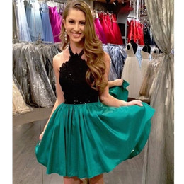 $enCountryForm.capitalKeyWord NZ - Satin Lace Appliqued Black And Green Short Halter A Line Sleeveless Mini Homecoming Dress Color Block Graduation Dresses