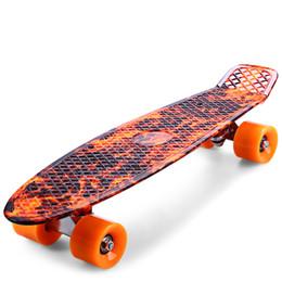Long Boards Canada - Skateboard 22 Inch Printing Flame Sport Skate Board Pattern Skateboard Complete Multi-color Long Board Retro Cruiser Longboard