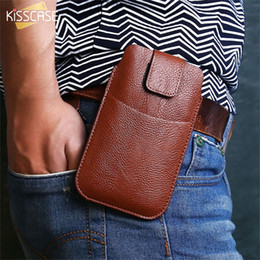 Leather beLt cLips online shopping - Universal Belt Clip Leather Phone Bag Case For iPhone Case For Samsung Galaxy S9 Hang Waist Bag For Android Phone