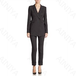 $enCountryForm.capitalKeyWord Canada - Customized new black three-piece ladies trousers suit double-breasted uniform design formal style office lady business suit overalls