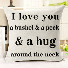 Valentine Pillows Gift Canada - Chinese Decorative Pillows for Sofa Quote Heart Cushion Cover Cover Romantic Valentine Day Gift Pattern Throw Pillow Covers 1 Pc Wholesale