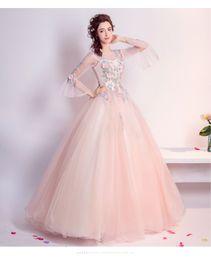 Speaker Sexy NZ - Speaker sleeves fairy flowers lace long sleeve bride toast clothing pink wedding dress