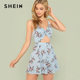 7ef56406367 SHEIN Twist Front Boxed Pleated Floral Cami Romper 2018 Summer Spaghetti  Strap Flower Print Jumpsuit Women Vacation Jumpsuit Y1890301