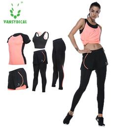 army yoga pants 2019 - Vansydical Women Yoga Set Five Pieces Bra T-shirt Shorts Pants Exercise Sportswear Solid cheap army yoga pants