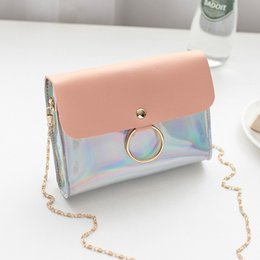 Discount mini small mobile phone new - 2018 New Women Panelled Shoulder Bag Contrast Color Bright Diagonal Small Square Bag Mobile Phone Mini Flap Female bolso