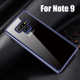 Discount silicone fingerprint - Luxury 2 in 1 Hard PC+Soft Silicon Transparent Phone Cases For Note 9 S9 Plus Anti-fingerprint Anti-shock Clear Case For