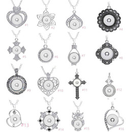 Assorted Chains Australia - 7 Styles Noosa Assorted Ginger 18mm Snap Buttons Chunk Charms Crystal Heart Multi Pendant Necklaces 316L Stainless Steel Chain Jewelry