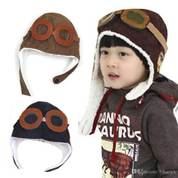 $enCountryForm.capitalKeyWord NZ - hot sale winter baby earrings baby boy girl child pilots pilots cap warm soft beans hats kids warm neutral peas