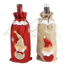 $enCountryForm.capitalKeyWord UK - Hoomall Natural Jute Red Wine Bottle Cover Bags Snowman Table New Year Dinner Party DIY Christmas Decoration For Home Navidad