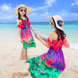 1937447d09 CHINGROSA Family Matching Outfits Mother Daughter Clothes Flowers Print  Summer Beach Dresses Family Look Chiffon Dress Mom Kids