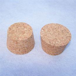 $enCountryForm.capitalKeyWord UK - 20pcs 55*45*35mm Wine Stoppers Jar Wish Glass Bottle Cork Tea Seal Pot Canister Pudding Bottle Wood Stop Free Shipping
