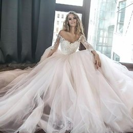 Wholesale simple elegant laces for wedding dresses for sale - Group buy 2018 New Elegant Off Shoulders A Line Wedding Dresses Sheer Long Sleeves Lace Appliqued Tulle Long Chapel Train Bridal Gowns For Weedings