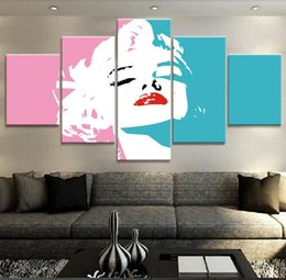 Background Prints Australia - Poster HD Wall 5 Pieces Singer Girl Canvas Painting Fashion Modular Art Prints Pictures Bedside Background Home Decoration Hot Sale