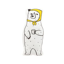 Chinese  Cute White Bear Scarf Pillow Canvas Baby Room Decor Child Stuffed Soft Cotton Cushion Newborn Bedding Hot In Stock Children Gift manufacturers