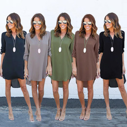Wholesale long tunic top for sale – plus size Women Clothing Shirt Dresses casual T shirt Irregular Loose V neck Long sleeved Empire Waist Dresses Top Plus Tunic Boho Dresses Mini Dress