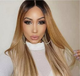 Human Hair lace wigs promotion online shopping - 2018 Hot Sales Promotion for ombre dark roots honey blonde Full Lace Wig Lace Front Wig Human Hair