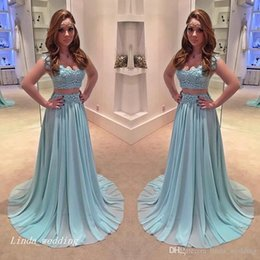 Wholesale 2017 New Arrival Light Blue Teal Prom Dress Sexy A Line Two Pieces Chiffon Long Formal Evening Party Gown Women Plus Size