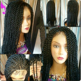 ombre black blue braiding hair 2019 - Free shippingBox Braids Wig Havana Twist Synthetic lace front wig Black Hair Heat Resistant Braids With Baby Hair Braids