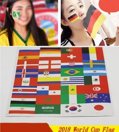 Wholesale 2018 World Cup National Flag Tattoo Sticker Temporary Brazil Russia Flag Football Game Football Fans Body Face Hand Tattoo Free DHL G689R