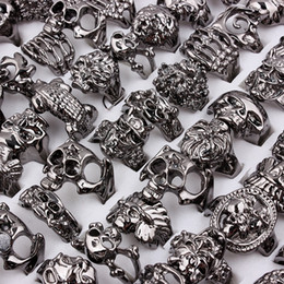 $enCountryForm.capitalKeyWord Australia - 20pcs Black Alloy Cabochon Vintage men Rings Skeleton Skull Picture Fashion Jewelry Black Rings for Women Men Gifts