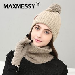 $enCountryForm.capitalKeyWord Canada - MAXMESSY New Knitted Winter Hat Scarf Glove Set Women Thick Touch Screen Glove Beanies Ring Scarf Female For Girls Gift MH167