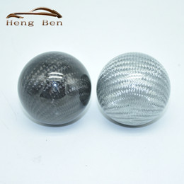 racing gear lever Canada - HB Racing Universal Car Gear Shift Knob Shifter Lever Round Ball Shape Black Silver Carbon Fiber