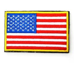 $enCountryForm.capitalKeyWord Australia - New Popular US Flag Tactical Patches Gold Border American flag Iron on patches Applique Jeans Fabric Sticker Patches for Hat badges