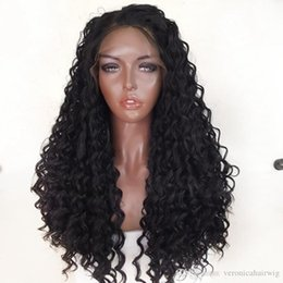 Discount black women dark blonde hair - Hot Selling 1b# Black Color Kinky Curly Lace Front Wigs Glueless with Baby Hair Long Curly Synthetic Lace Front Wig for