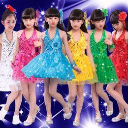 Teenager Girls Dress School Party Wedding Performance Stage Wear Sleeveless  Princess Sequin Bling Latin Dance Costumes Dress e415a2b34aac