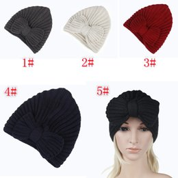 Knitted ladies hats online shopping - 5styles women earmuffs knitted bowknot hat lady hats crochets knitting beanie hats outdoor sports party skull caps FFA754