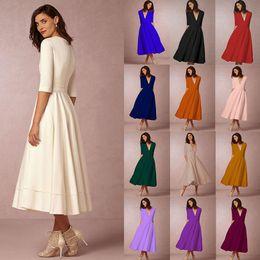 b80e278b99b Tea lengTh casual dresses online shopping - 12 color Women Sexy V Neck Half  Sleeves Solid