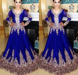 arabic kaftan dress blue 2019 - Abaya in Dubai Kaftan Muslim Evening Dresses Islamic Abaya Lace Embroidery Long Sleeve Arabic Prom Evening Dress Morocca
