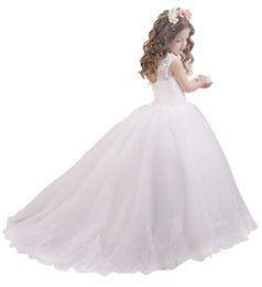 5509d9ab3e Vestido de niña de flores de tul con encaje Vestidos de novia de niña  Vestido Brithday Ocasión formal Vestido de dama de honor
