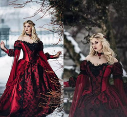long sleeve sleep dress Canada - Sleeping Beauty Princess Medieval Red and Black Gothic Wedding Dress Long Sleeves Lace Appliques Victorian Bridal Gowns Custom Made