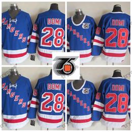 1991-92 75th Anniversary Vintage New York Rangers Tie Domi Hockey Jerseys  Mens Cheap 28 Tie Domi Stitched Hockey Shirts M-XXXL e09df4ea9