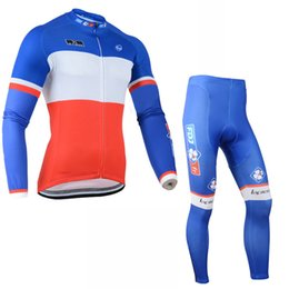 f23a4adca FDJ team Cycling long Sleeves jersey (bib) pants sets men mountain bike  clothes breathable bicycle sportswear C1401