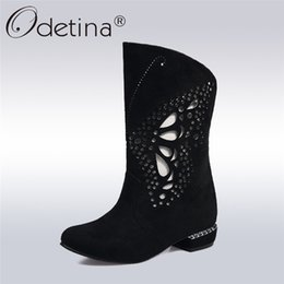 Chinese  Odetina 2018 New Fashion Summer Mid Calf Boots For Women Square Low Heels Casual Shoes Fretwork Slip On Booties Big Size 31-48 manufacturers