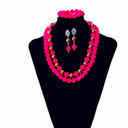 China AMYNOVA Beautiful Red Bead Collar Women Jewelry Set African Nigerian Statement Necklace Earrings Jewelry Sets Free Shipping YZ2 suppliers