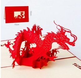 Animal Theme Dragon Handmade 3D Pop UP Greeting Cards For Birthday Gift Free Shipping 1 Pc Wholesale