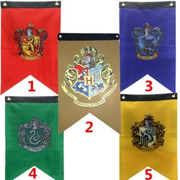 Discount harry potter colleges - Hot Harry Potter Banner Flag Gryffindor Hufflepuff Slytherin Ravenclaw Triangle flag Hogwarts College Home Decor Flag T1