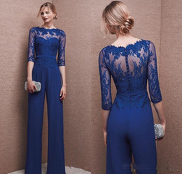 Blue Plus Size Jumpsuit Australia - 2017 Plus Size Royal Blue Pant Suit Evening dress With Lace Sleeve Mother Jumpsuit Chiffon Cocktail Party mother of bride dress Custom Made