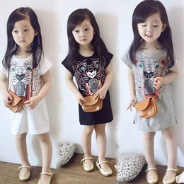 Girls White Tee Black Sleeves Canada - Kids girl short sleeve printed cotton long style cartoon T shirts tee shirt dress white grey black for about 2-6yrs