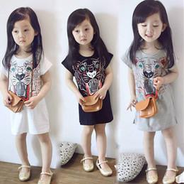 $enCountryForm.capitalKeyWord Canada - Kids girl short sleeve printed cotton long style cartoon T shirts tee shirt dress white grey black for about 2-6yrs