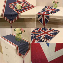 Discount flag tablecloth - Cotton Linen Table Runner USA UK Jacquard Tapestry Flag Tablecloth Mat Home Party Wedding Table Decoration Home Textile